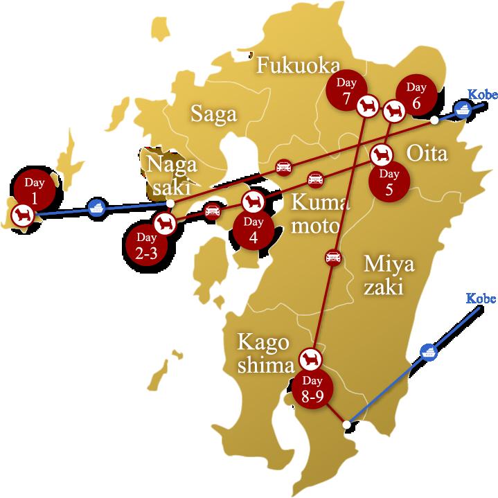 メルセデスで行く!九州一周の旅MAP